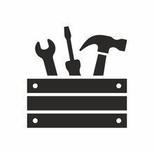 Toolbox With Tools. Spanner, Screwdriver And Hammer Icon. Vector Icon Isolated On White Background.