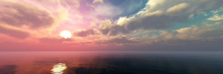Panel Szklany Podświetlane Do kuchni Beautiful panorama of the sea landscape, panorama of sea sunset, sea sunrise, light in the sky with clouds above the water,Beautiful panorama of the sea landscape, panorama of sea sunset, sea sunrise,