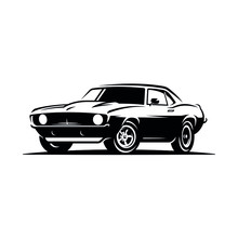 Retro Muscle Car Emblem, Logo, Banner. Muscle Car Icon. Vector Illustration.