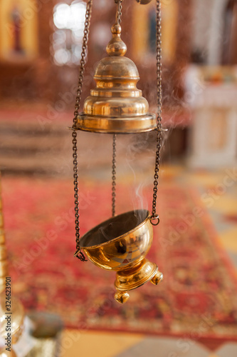 A priest's censer hanging in the Orthodox Church Canvas Print