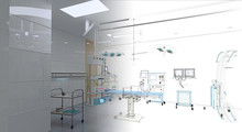 Modern Operating Room, Empty, Without Staff, Blueprint, 3d Illustration, 3d Rendering.