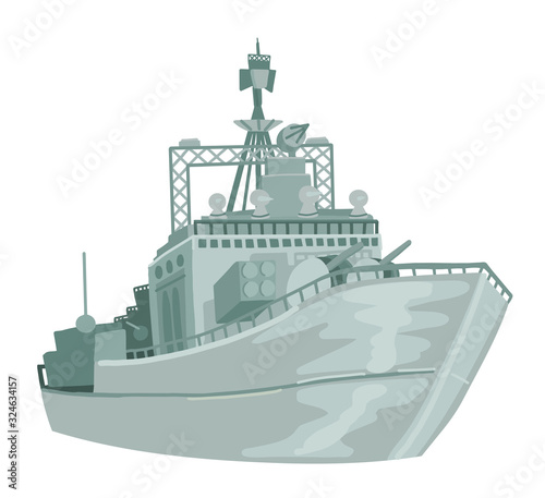 Fotografía Russian military warship. Vector on white isolated background