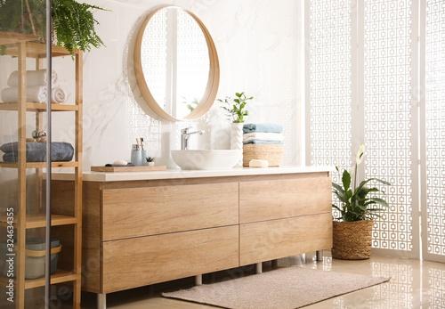 Fototapety, obrazy: Stylish bathroom interior with mirror and countertop. Design idea