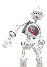 Vintage Robot Cartoon Is Angry In White Background