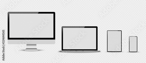 Obraz Set of compute, laptop, smartphone with empty screens. Design on transparent background. . Vector illustration - fototapety do salonu
