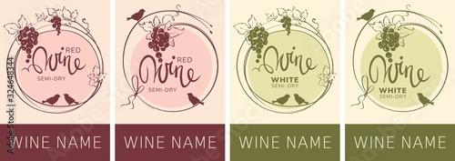 Wine labels with birds and grapes / Set vector illustration, floral design element - 324648344