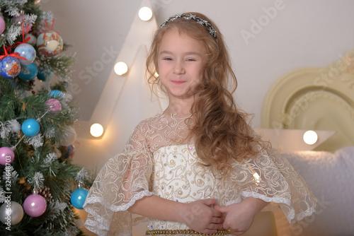 Little Girl Portrait in Alabaster Elegant Victorian Dressdress Canvas Print