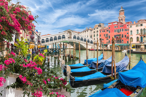 Fototapeta Glandscape with gondola on Grand Canal, Venice, Italy obraz