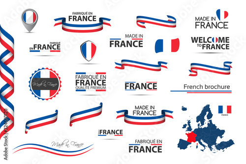 Obraz Big set of French ribbons, symbols, icons and flags isolated on a white background, Made in France, Welcome to France, premium quality, French tricolor, set for your infographics and templates - fototapety do salonu