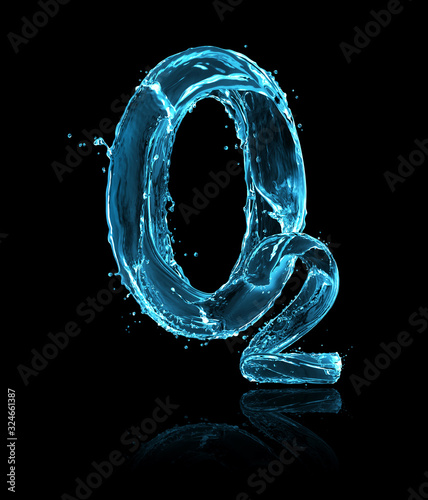 Fotografia Chemical formula of oxygen made of water splashes on a black background