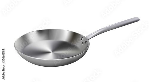Realistic empty metal frying pan isolated on white background Fototapeta