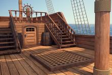 Outside Of Pirate Old Ship. Da...