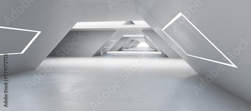 Modern futuristic white shiny architecture builing interior with futuristic lighting 3d render illustration