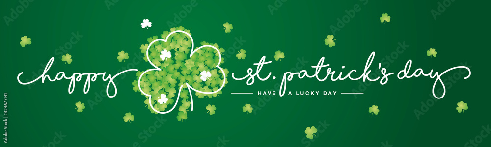 St Patrick's Day handwritten typography lettering line design with clovers green background banner.jpg <span>plik: #324677141 | autor: simbos</span>