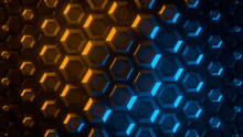 Abstract Bright Creative Background. Modern Clean Minimalistic Design. Hexagonal Geometric Structure, Honeycomb Surface, Top View. Cell Elements Pattern. 3d Rendering