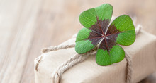 Paper Gift With Lucky Clover