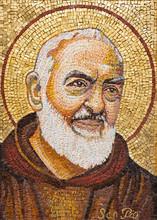 RAVENNA, ITALY - JANUARY 28, 2020: The Mosaic Of Pater Pio From The Chruch Chiesa Di Santa Maria Maddalena.