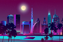 Vector Night City On River, Tr...