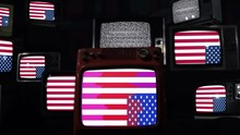 Upside Down US Flags On A Retr...
