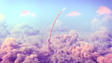Rocket Launch Through The Clouds, Starship Rocket To The Mars. 4k Animation