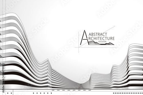 3D illustration architecture building construction perspective design, abstract modern urban landscape background.