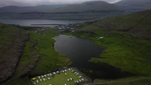 Abandoned Football Pitch Eidi Campsite On Faroe Islands Coast, Aerial Reveal View