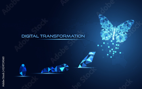 Foto Abstract Business digital transformation innovative of butterfly life cycle evolution blue background