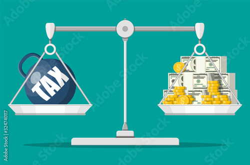 Fototapeta Scales balancing with metal tax weight ball and cash money. Tax burden concept. Debt, fee, crisis and bankruptcy. Vector illustration in flat style obraz