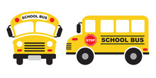 Vector Illustration Of Yellow School Bus Front And Side View.