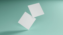 White Square Shape Business Card Mockup Stacking On Green Mint Pastel Color Table Background. Branding Presentation Template Print. 3.5 X 2 Inch Paper Size Cover. 3D Illustration Rendering