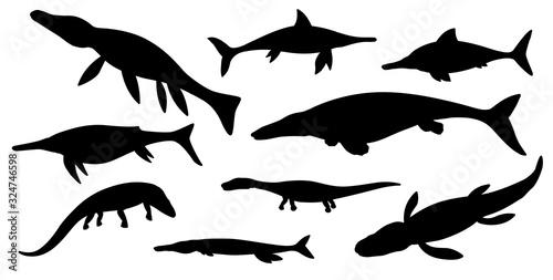 Sea dinosaur black silhouettes of vector jurassic animals or monsters Wallpaper Mural