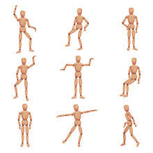 Wooden Man Standing In Different Poses Vector Set