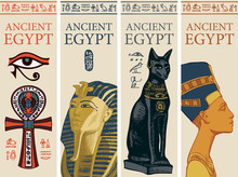 Set Of Vector Travel Posters With Colored Images Of Coptic Cross, Tutankhamun, Bastet And Nefertiti. Advertising Banners Or Flyers For Travel Agency With Egyptian Symbols And Words Ancient Egypt