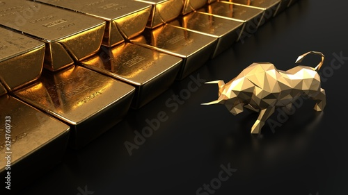 Papel de parede Rising gold prices on the stock market. 3d illustration.