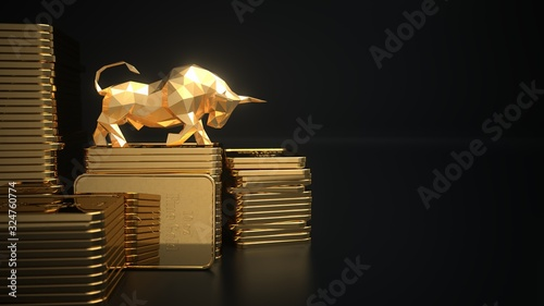 Photo Rising gold prices on the stock market. 3d illustration.