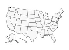 US Map Vector Outline State Boundaries