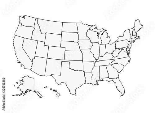 Obraz US Map Vector Outline State Boundaries - fototapety do salonu