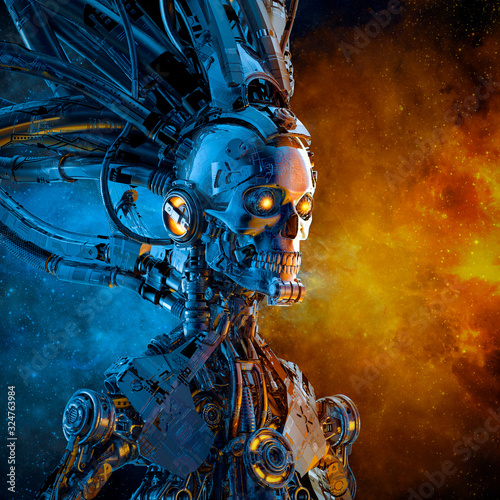 Galactic reaper duality / 3D illustration of scary futuristic science fiction sk Wallpaper Mural