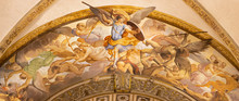 BOLOGNA, ITALY - FEBRUARY 3, 2020: The  Fresco Of St. Michaels War With Fallen Angels In Baroque Church San Michele In Bosco.