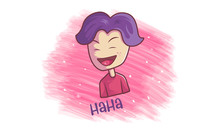 Vector Cartoon Illustration Of The Laughing Boy. Lettering Text- Haha Isolated On White Background.