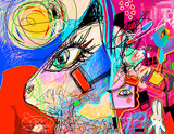original digital contemporary artwork with abstract cat and rabbit,