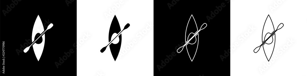 Fototapeta Set Kayak and paddle icon isolated on black and white background. Kayak and canoe for fishing and tourism. Outdoor activities. Vector Illustration