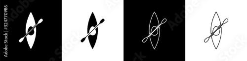 Set Kayak and paddle icon isolated on black and white background Tapéta, Fotótapéta