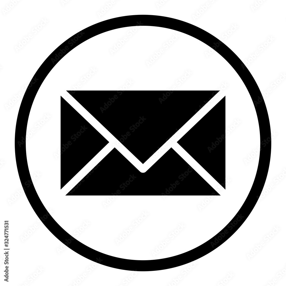 Fototapeta ewni31 ElementWebNewIcon ewni - envelope / mail icon. - email, post, contact, newsletter - simple black line - web graphic on white paper - square xxl g9083