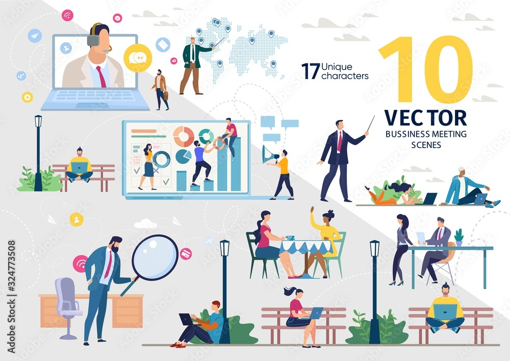 Fototapeta Company Employees Team, Office Colleagues, Freelance Workers Life Scenes and Work Situations, Distance Work, Business Strategy Planning, Searching Solution Concept Trendy Flat Vector Illustrations Set