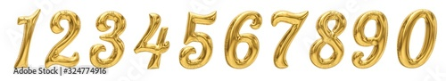 Fototapeta Golden Number Balloons from 0 to 9