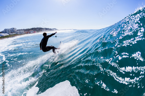 Surfing Surfer Surfing Silhouetted Behind Rear Water Photo Action Blue Sky Canvas Print
