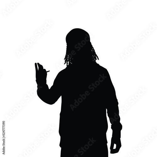 Obraz na plátně Young hippie smokes marijuana silhouette vector