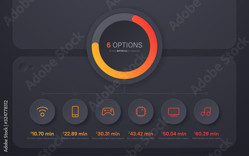 Fototapeta Dark hued presentation infographic structure chart design. Six options obraz