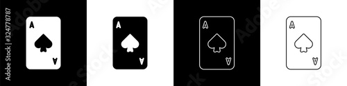 Set Playing card with spades symbol icon isolated on black and white background Canvas Print